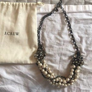 J Crew Pearl and Rhinestone Statement Necklace